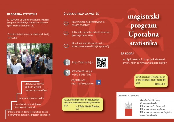Masters programme of Applied statistics flyer